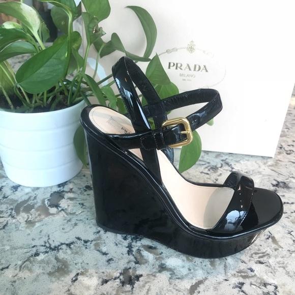 a278da40d1 NWOT Prada Black Patent Leather Wedges. Very Sexy!